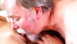 Brunette gorgeous beauty getting her vagina sucked by old guy