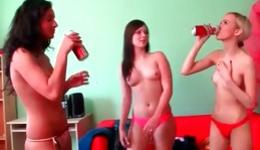 Three perky babes are getting naked and are making out slutty